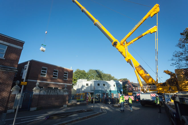 1-MR linac magnet being lifted into The Christie.jpg
