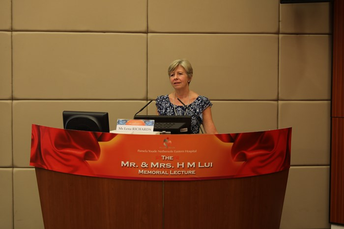 Lena presenting at the Mr & Mrs Lui memorial lecture