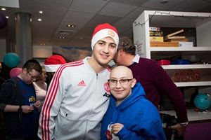 Manchester United first team visit Christie patients