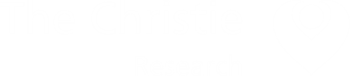 The white logo for The Christie's Research and Innovation division. logo