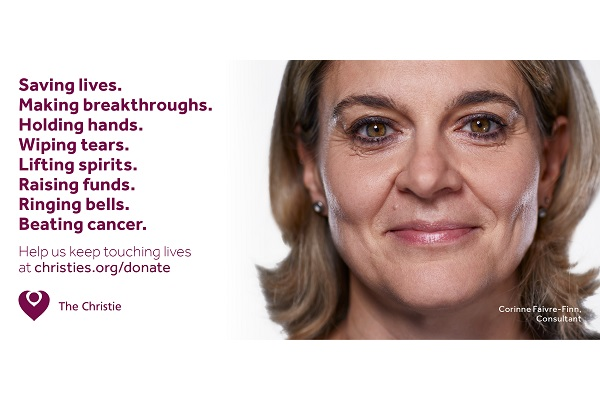 An advert for The Christie charity awareness campaign