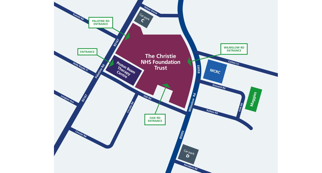 A map of The Christie NHS Foundation Trust, showing entrances and car parks.