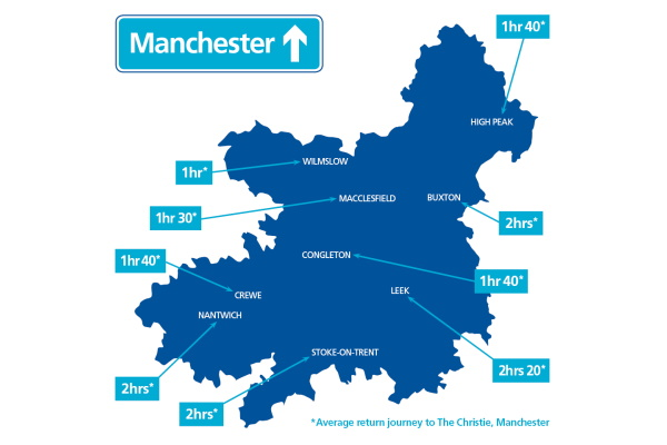A map showing current return journey times to The Christie in Manchester.