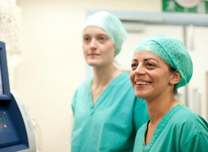Two female staff in scrubs