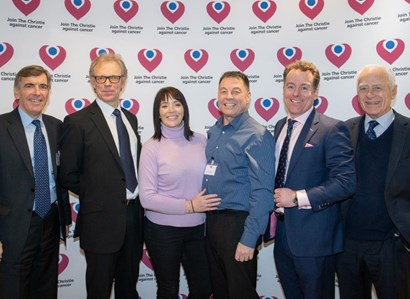 David Rutley MP, Dr Andrew Sykes, Andrea Oldham, Keith Oldham (Christie patient), Nick Bianchi and Paul Bianchi appearing at an event for The Christie charity to support The Christie at Macclesfield project.