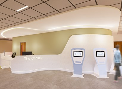 A digital render of the main reception at The Christie at Macclesfield site.