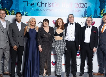 Left to right: Max Taylor, Joe Thompson, Katie McGlynn, Julie Malone, Eva O'Hara, Roger Spencer (CEO The Christie), Professor Tim Somervaille (The Christie) and Lewis Ellis