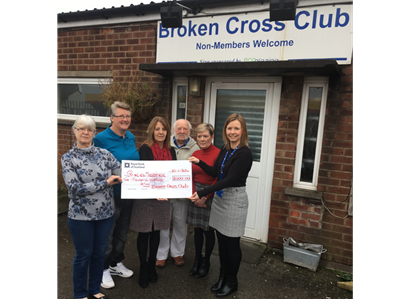 Linda Longden, Julie Clifford, Lorraine Johnson, Alan Turner, Julie Cooper, (all Broken Cross Club) and Louise Dawson (The Christie charity)