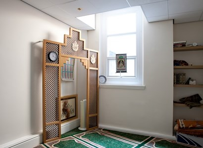 The spiritual care service at The Christie, showing a Muslim prayer mat.